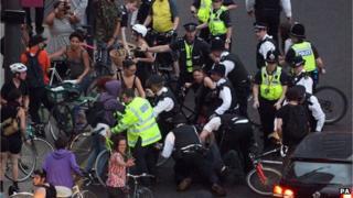 Protest near Olympic Park