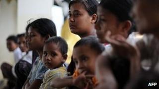 Rakhine families displaced by violence in Sittwe. 14 June 2012