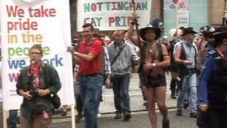 Gay Pride parade in Nottingham