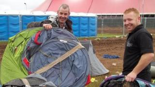 Tent collecting after Wakestock