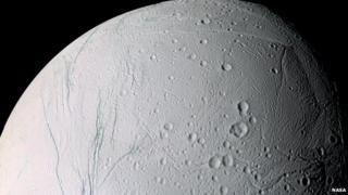 Enceladus is one of Saturn's moons.