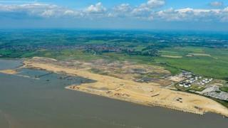 Aerial photo of London Gateway site where the new super-port will be