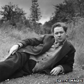 Dylan Thomas relaxing outside
