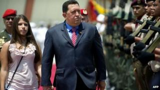 Hugo Chavez and his daughter, Rosa Ines