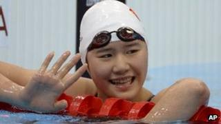 Chinese swimmer Ye Shiwen at the Olympic Park, London. 30 July 2012