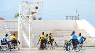 Basketball players in Juba