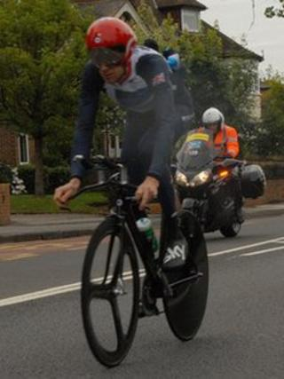 Bradley Wiggins testing out the time trial route in Surrey on Wednesday