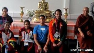 Most Ven Bogoda Seelawimala Thera with the Sri Lankan Olympic team inside the shrine