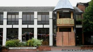 Loughton Methodist Church in Essex boarded up following car crash