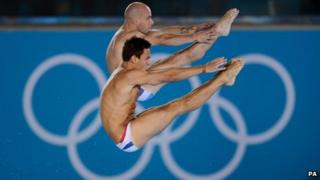 Tom Daley (front) and Peter Waterfield