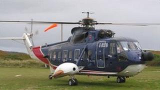 British International Helicopter on Tresco. Pic: D Sims