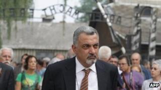 Ziad Al-Bandak enters German Nazi concentration and extermination camp Auschwitz-Birkenau
