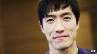 Liu Xiang poses after a press conference a day ahead of the XL Galan Stockholm Indoor meeting, 22 Feb 2012