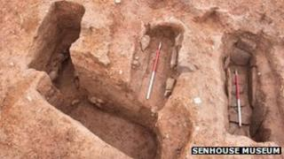 Exposed early Christian graves