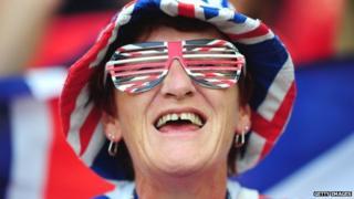 Woman in Union Flag attire