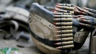 Helmet and bullets owned by a British soldier in Afghanistan