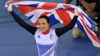 Victoria Pendleton holds Union Jack flag