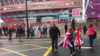 Team GB fans arrive at the Millennium Stadium