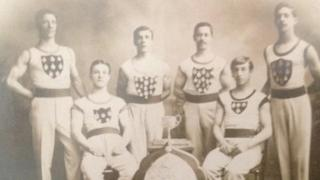 Britain's Olympics team having a photo taken in 1908. Charles: Fleming