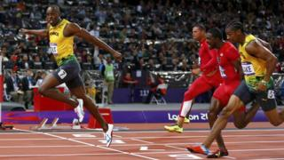 Usain Bolt wins the Olympic 100m final