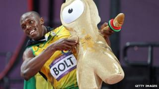 """Usain Bolt of Jamaica celebrates after winning the gold medal in the Men""""s 100m Final"""