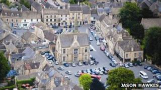 Stow-on-the-Wold aerial view