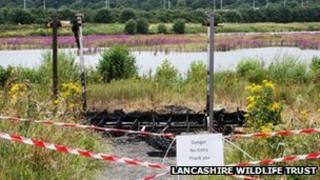 Arson attack hide at Brockholes
