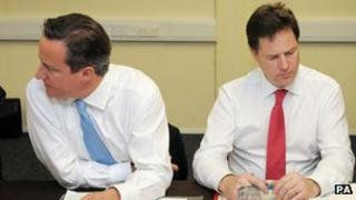 David Cameron and Nick Clegg at a cabinet meeting last month