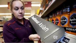 Braille sign in supermarket