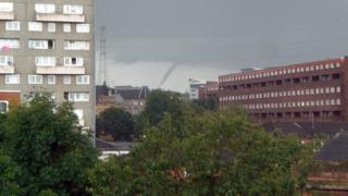 Funnel cloud over Glasgow