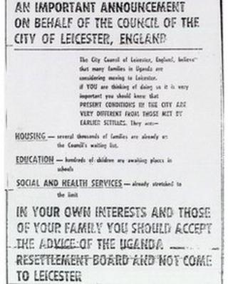 Leicester City Council advertisement in Ugandan Argus in 1970s
