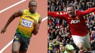 Usain Bolt and Wayne Rooney