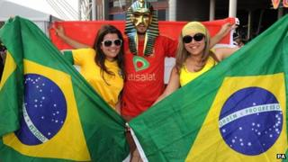 Brazilian fans in Cardiff for one of their matches