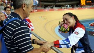 Victoria Pendleton and father Max after she won a silver medal in the sprint at London 2012