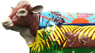 Painted fibre-glass cow