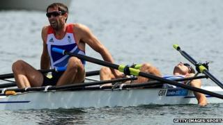 Mark Hunter and Zac Purchase after winning silver in their race at London 2012