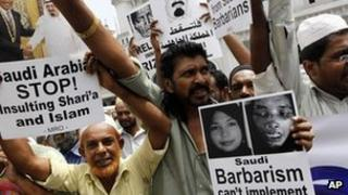 File photo (2011) of protest against alleged abuse of housemaids working in Middle East by Muslims in Sri Lanka