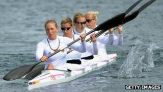 "Tina Dietze, Katrin Wagner-Augustin, Franziska Weber and Carolin Leonhardt of Germany compete in the Women""s Kayak Four (K4) 500m Sprint semifinal on Day 10 of the London 2012 Olympic Games at Eton Dorney on August 6, 2012"