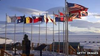 Flags at McMurdo station in Antarctica 21 October 2005