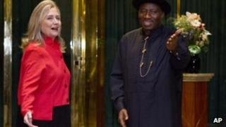 US Secretary of State Hillary Clinton with Nigeria's President Goodluck Jonathan, Thursday, 9 August 2012