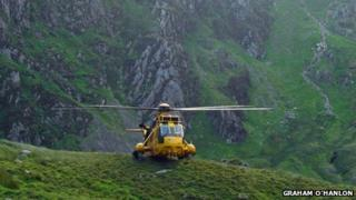 RAF rescue helicopter on Cadair Idris