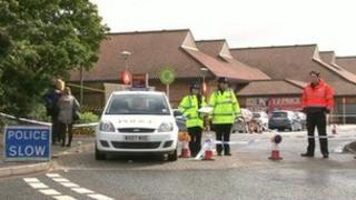 Police cordon at the Sainsbury's store in Bath Road, Chippenham