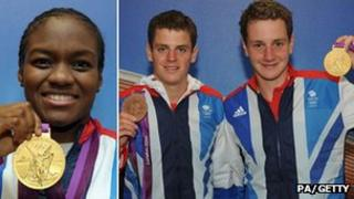 From left to right: Nicola Adams, Jonny Brownlee and Alistair Brownlee