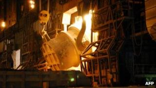 A photo of a converter process at Nippon Steel's plant in Japan