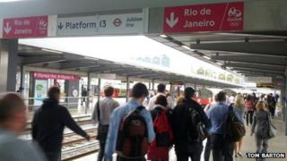 Signs for Rio 2016 at Stratford Train Station, England