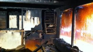 Damage caused by arson attack at Lough Foyle Yacht Club in Derry