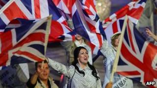 Artists waving the Union flag at London 2012''s closing ceremony