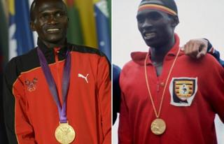 Stephen Kiprotich (left, AFP) wears his gold medal at London 2012; John Akii-Bua (right, Getty) wears gold at Munich in 1972 (composite image)