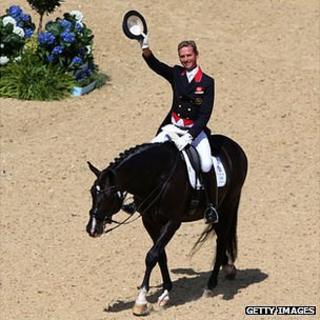 Carl Hester riding Uthopia ahead of the London 2012 Olympic Dressage Grand Prix