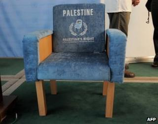 "A mocked-up chair at the UN in New York saying: ""Palestine's right: full membership of the United Nations""."